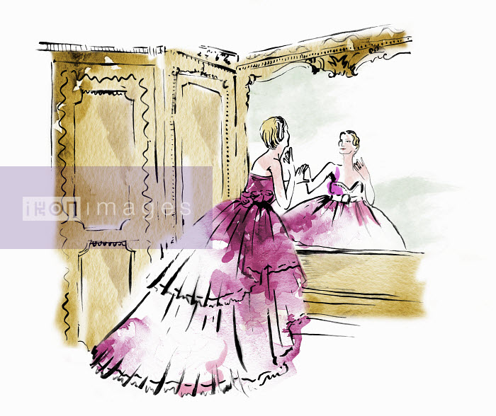 Beautiful woman in ball gown admiring reflection in ornate mirror - Beautiful woman in ball gown admiring reflection in ornate mirror - May Van Milligan