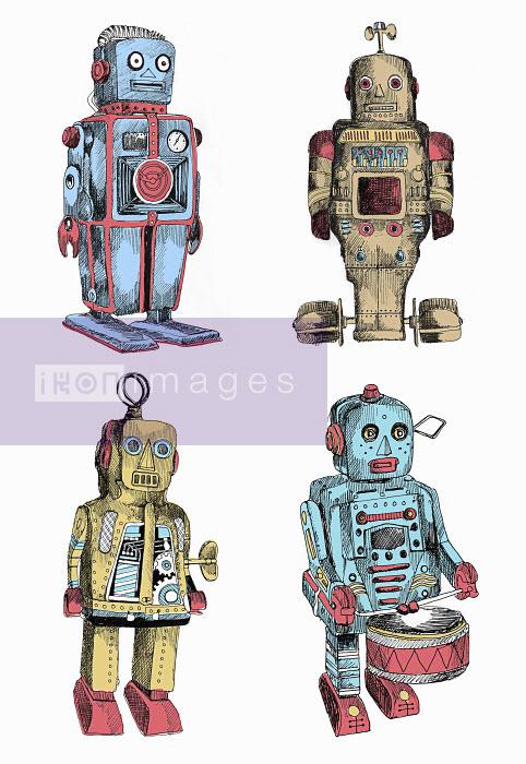Wind-up toy metal robots - Wind-up toy metal robots - May Van Milligan