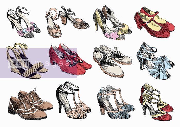 Rows of pairs of women's shoes - Rows of pairs of women's shoes - May Van Milligan