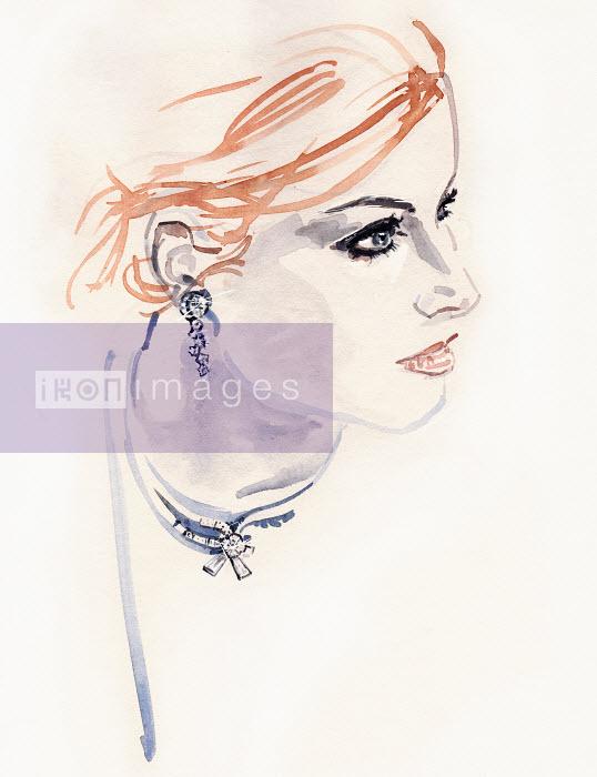 Beautiful woman wearing diamond earrings and choker - Beautiful woman wearing diamond earrings and choker - Silke Bachmann