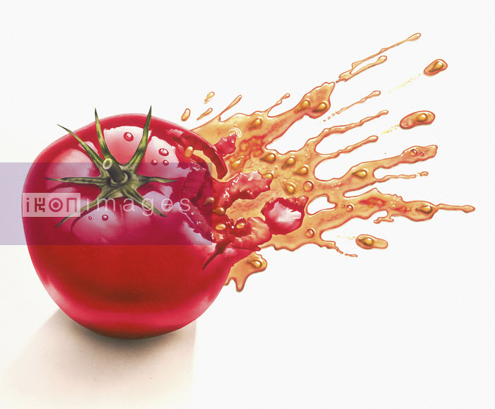 Juice squirting from squashed tomato - Juice squirting from squashed tomato - Syd Brak
