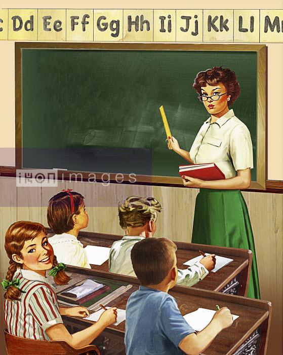 Retro vintage elementary school teacher and pupils in classroom - Retro vintage elementary school teacher and pupils in classroom - Syd Brak