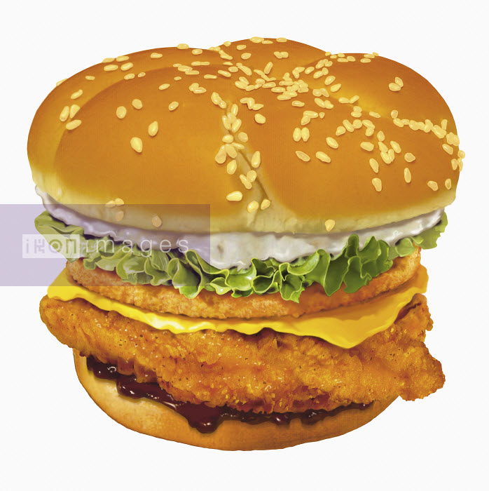 Close up of large chicken burger - Close up of large chicken burger - Syd Brak
