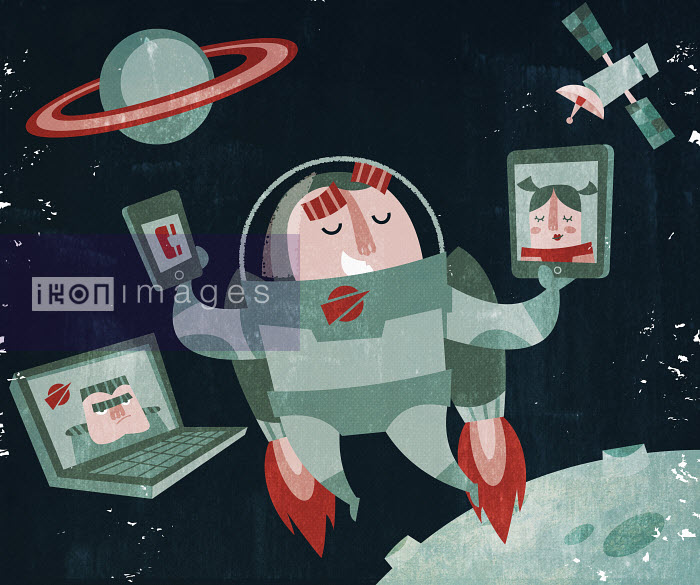 Astronaut in jet pack using mobile communication devices in space - Astronaut in jet pack using mobile communication devices in space - Duncan Beedie