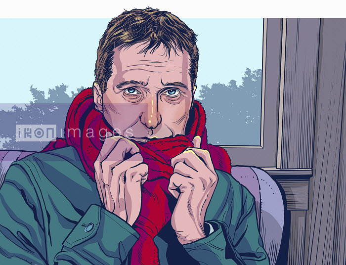 Man feeling cold sitting indoors wrapped in scarf - Man feeling cold sitting indoors wrapped in scarf - Mart Klein