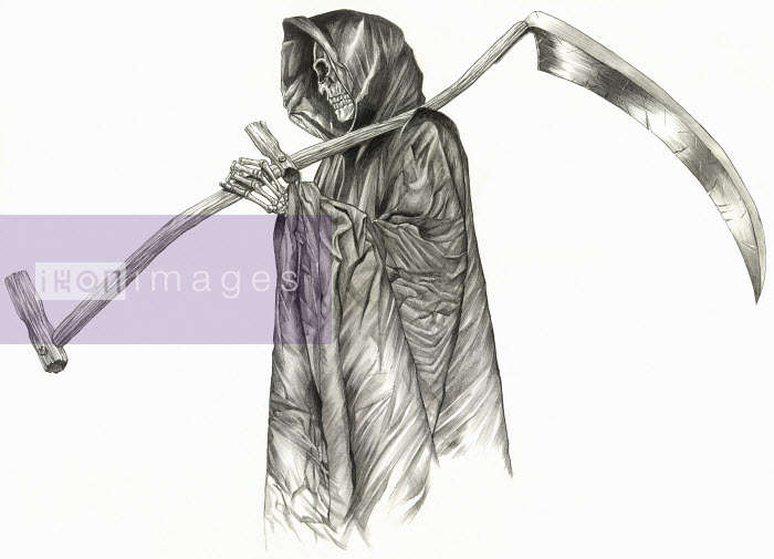 The grim reaper skeleton in cape carrying scythe - The grim reaper skeleton in cape carrying scythe - Mart Klein