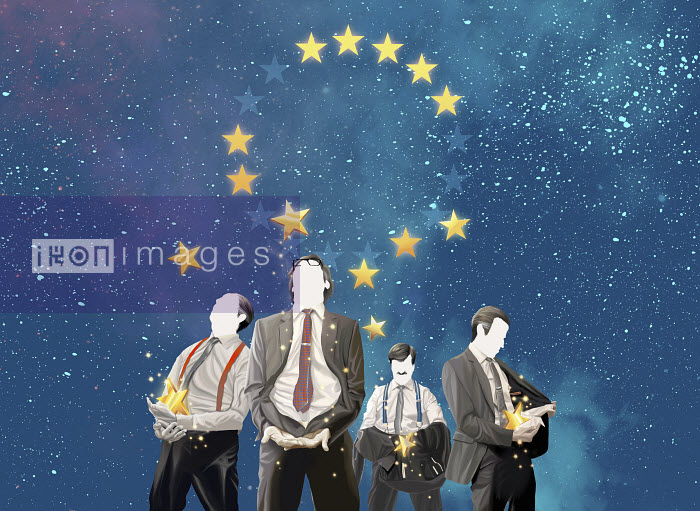 Greedy businessmen catching stars falling from European Union symbol - Greedy businessmen catching stars falling from European Union symbol - Mart Klein