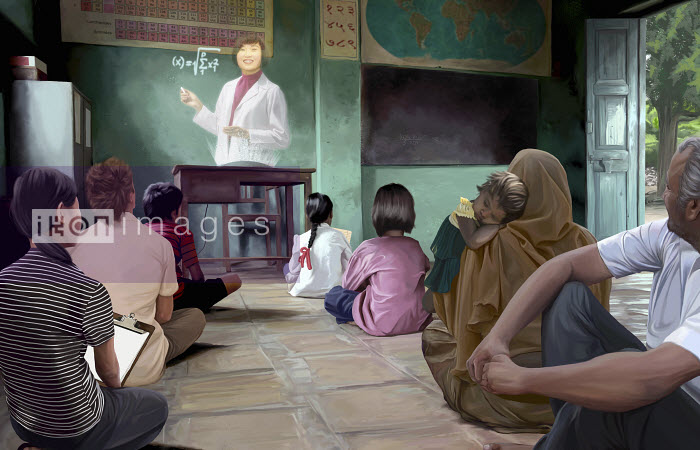 Classroom with futuristic hologram teacher - Classroom with futuristic hologram teacher - Mart Klein