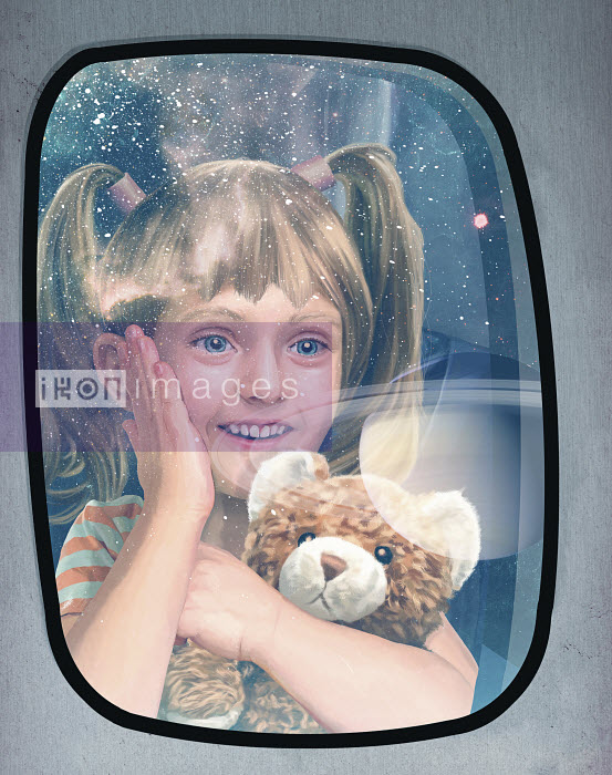 Excited child looking out of window at planets on futuristic space flight - Excited child looking out of window at planets on futuristic space flight - Mart Klein