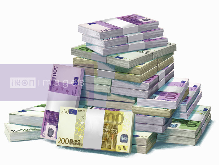 Large pile of European Union banknotes - Large pile of European Union banknotes - Mart Klein
