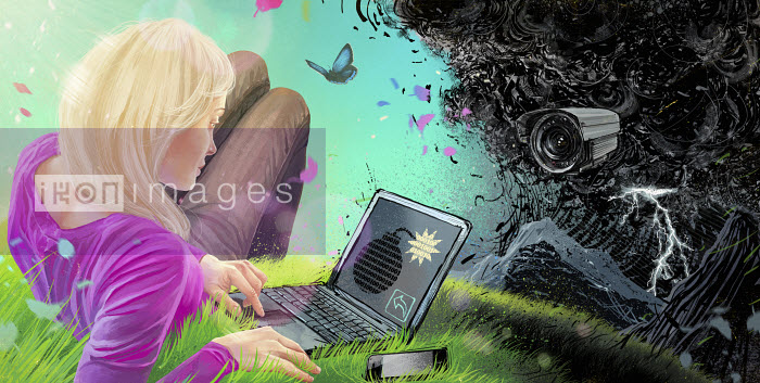 Woman using laptop outdoors with binary code time bomb on screen and security camera in ominous cloud ahead - Woman using laptop outdoors with binary code time bomb on screen and security camera in ominous cloud ahead - Mart Klein