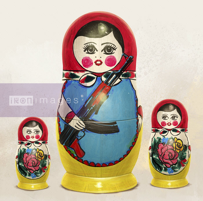 Russian nesting dolls nervously watching large doll holding machine gun - Russian nesting dolls nervously watching large doll holding machine gun - Mart Klein