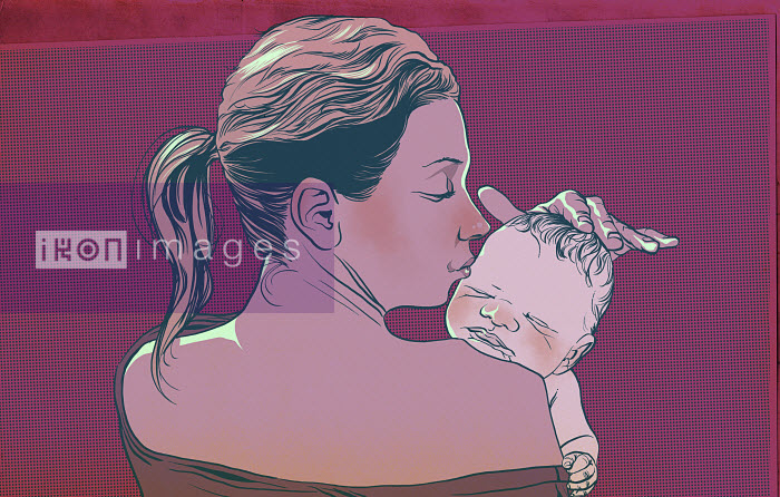Mother kissing and stroking new baby - Mother kissing and stroking new baby - Mart Klein