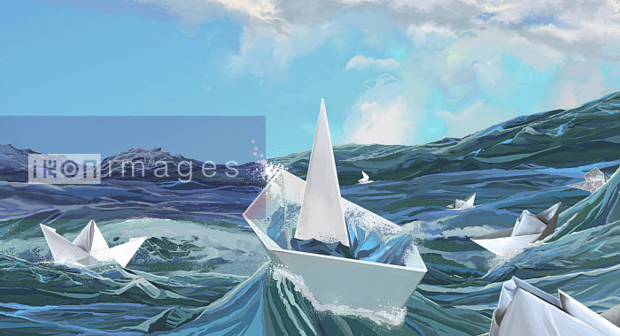 Paper boats sinking on stormy sea - Paper boats sinking on stormy sea - Mart Klein
