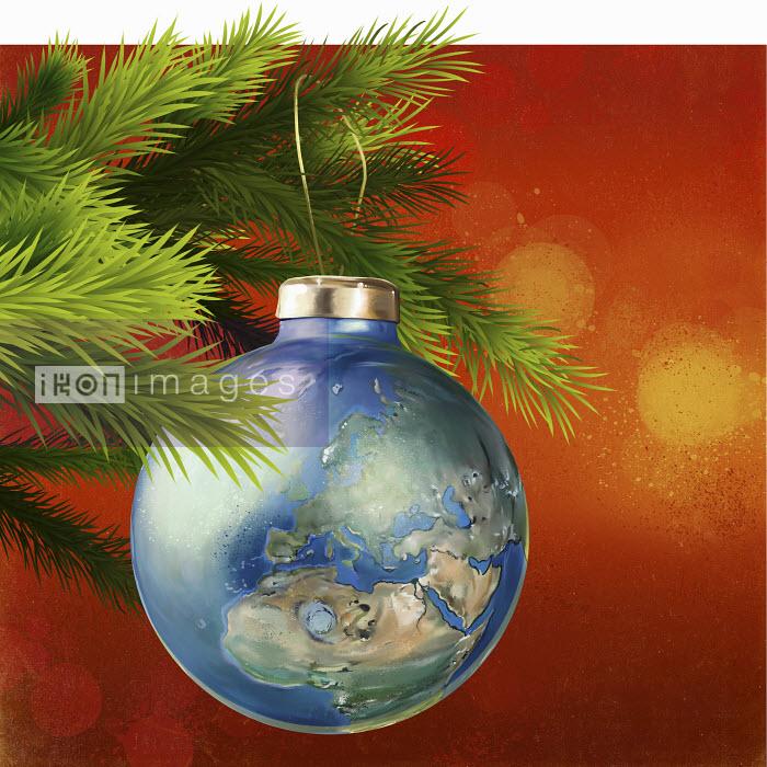 Global world map as Christmas tree decoration - Global world map as Christmas tree decoration - Mart Klein