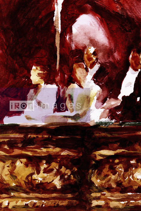 People in evening dress sitting in theater box - People in evening dress sitting in theater box - Philip Bannister