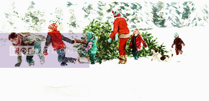 Family pulling Christmas tree through the snow - Family pulling Christmas tree through the snow - Philip Bannister
