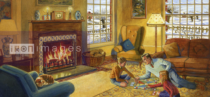 Father playing board game with children on floor in front of fire in cozy lounge - Father playing board game with children on floor in front of fire in cozy lounge - Ruth Palmer