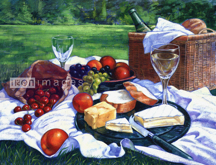 Wine, bread, cheese, and fruit ready on picnic blanket - Wine, bread, cheese, and fruit ready on picnic blanket - Ruth Palmer