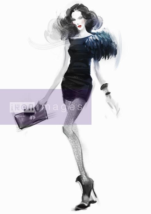 Beautiful fashion model wearing black mini dress - Beautiful fashion model wearing black mini dress - ZhuZhu