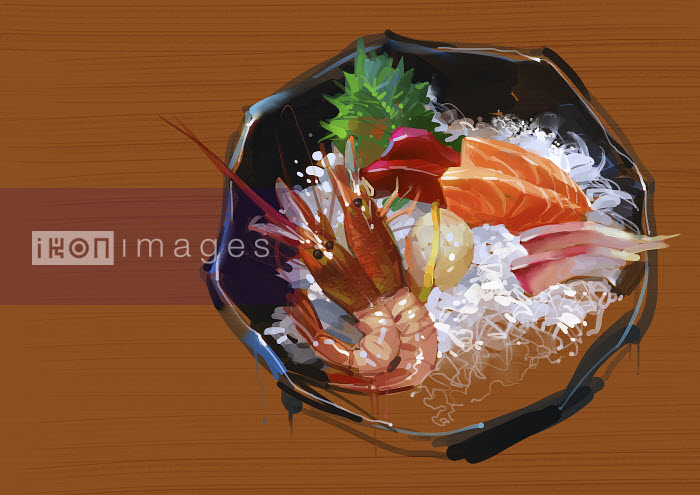 Bowl of prawns and seafood with rice - Bowl of prawns and seafood with rice - ZhuZhu