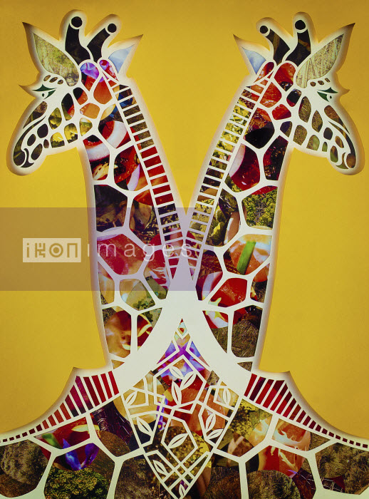 Paper collage of two symmetrical giraffes - Paper collage of two symmetrical giraffes - Mayuko Fujino