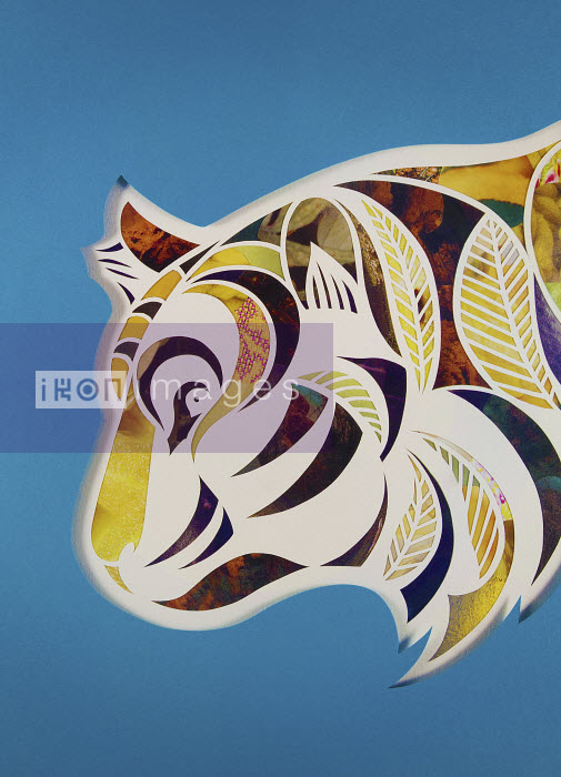 Paper collage of profile of tiger's head - Paper collage of profile of tiger's head - Mayuko Fujino