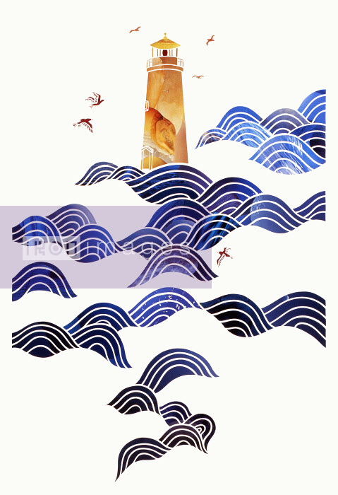 Birds flying round lighthouse in sea waves - Birds flying round lighthouse in sea waves - Mayuko Fujino
