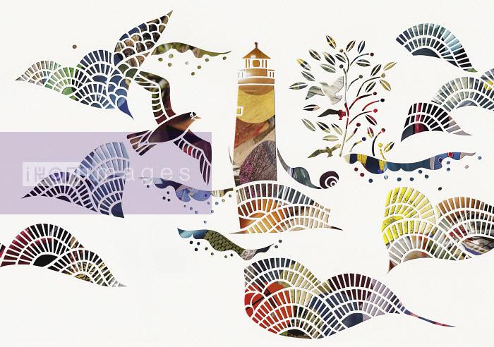 Birds and waves around lighthouse at sea - Birds and waves around lighthouse at sea - Mayuko Fujino