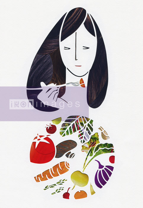 Woman eating fresh vegetables with fork from plate - Woman eating fresh vegetables with fork from plate - Mayuko Fujino
