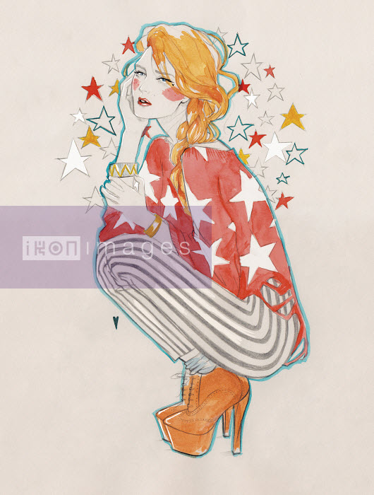 Serious young woman daydreaming with head in stars - Serious young woman daydreaming with head in stars - Miss Led