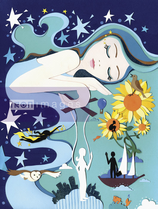 Beautiful young woman sleeping and dreaming of bright sunny adventures - Beautiful young woman sleeping and dreaming of bright sunny adventures - Vicky Scott