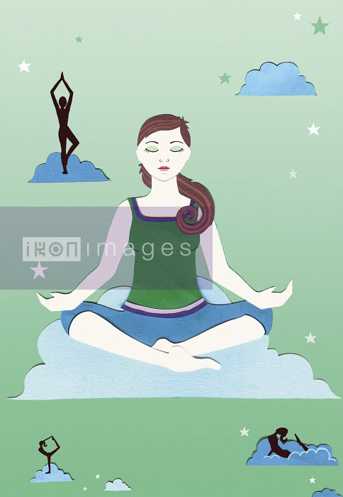 Woman meditating sitting in lotus position on cloud - Woman meditating sitting in lotus position on cloud - Vicky Scott