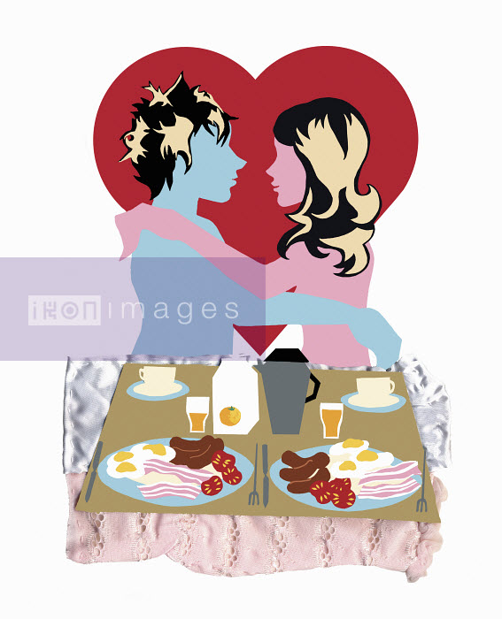 Young couple embracing with breakfast in bed - Young couple embracing with breakfast in bed - Vicky Scott