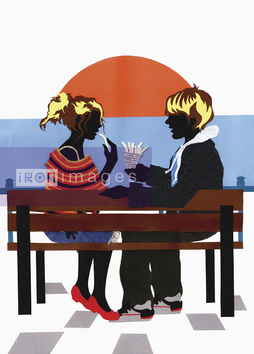 Collage of teenage couple sitting on bench eating chips at sunset - Vicky Scott