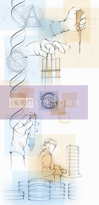 Montage of scientists and genetic research - Montage of scientists and genetic research - Juliet Percival