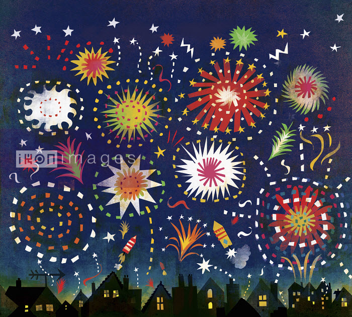 Multicolored fireworks in night sky above houses - Multicolored fireworks in night sky above houses - Lee Hodges