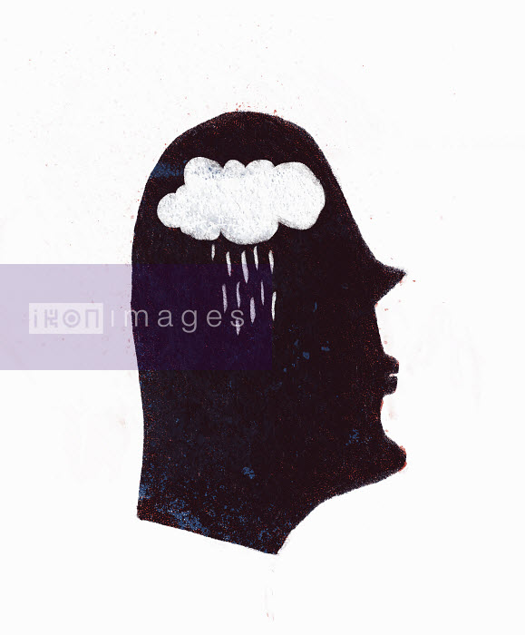 Rain falling from cloud inside of silhouetted profile of man's head - Rain falling from cloud inside of silhouetted profile of man's head - Maguma