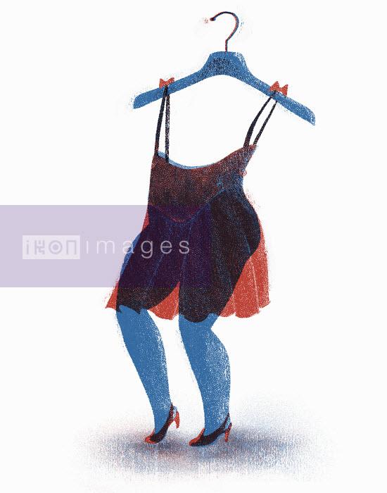 Bottom half of woman wearing transparent dress with top half on coat hanger - Bottom half of woman wearing transparent dress with top half on coat hanger - Maguma