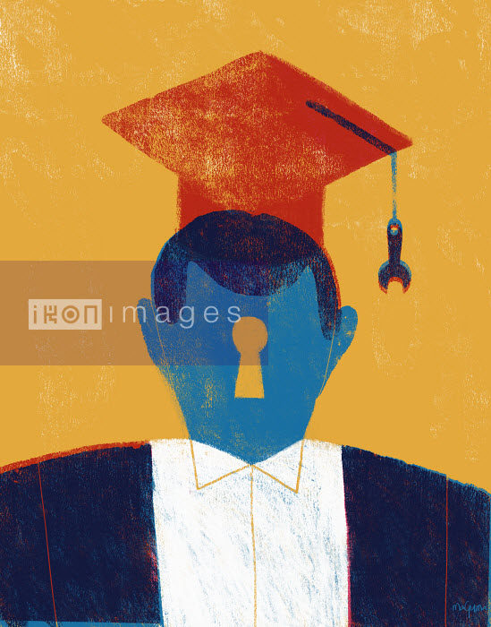 Graduate wearing mortarboard and gown with keyhole face and wrench as tassel - Graduate wearing mortarboard and gown with keyhole face and wrench as tassel - Maguma
