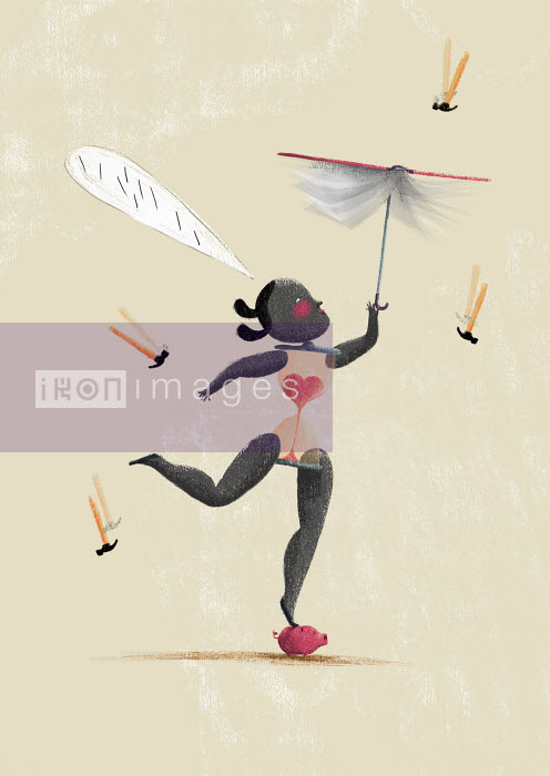 Young woman balancing on piggy bank with book umbrella, hourglass body, speech bubble and hammers falling as rain - Young woman balancing on piggy bank with book umbrella, hourglass body, speech bubble and hammers falling as rain - Maguma