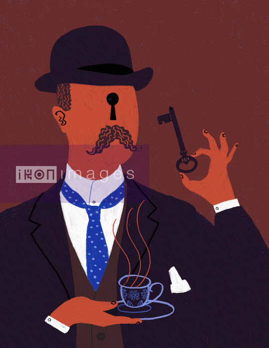 Stereotypical old-fashioned Englishman with exit key and keyhole face - Stereotypical old-fashioned Englishman with exit key and keyhole face - Maguma