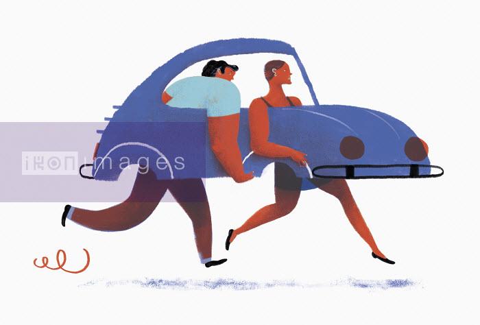 Man and woman carrying car with no wheels - Maguma