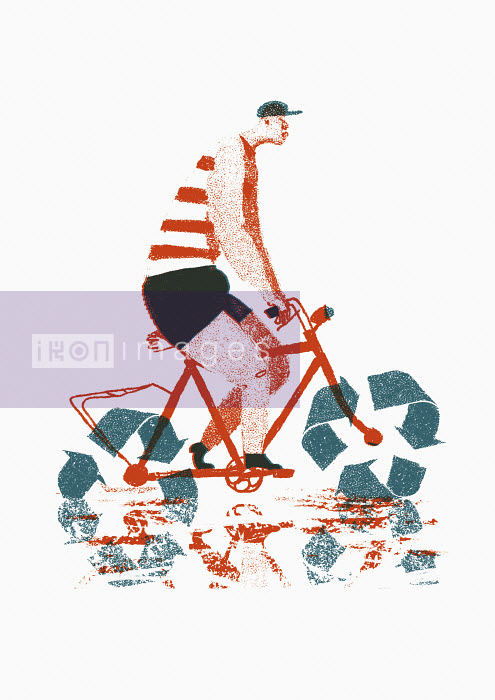Man riding bike with recycling symbol wheels - Maguma