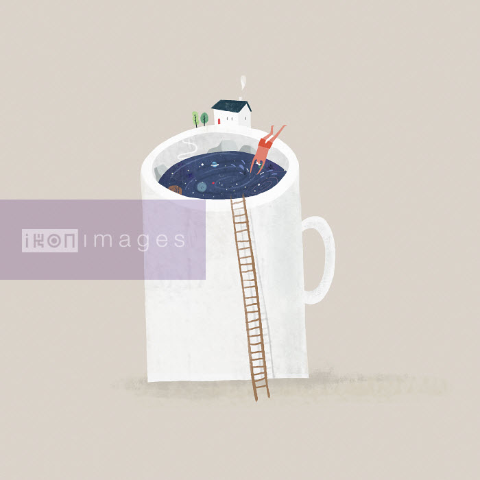 Man diving into outer space from rim of huge mug - Man diving into outer space from rim of huge mug - Mark Conlan