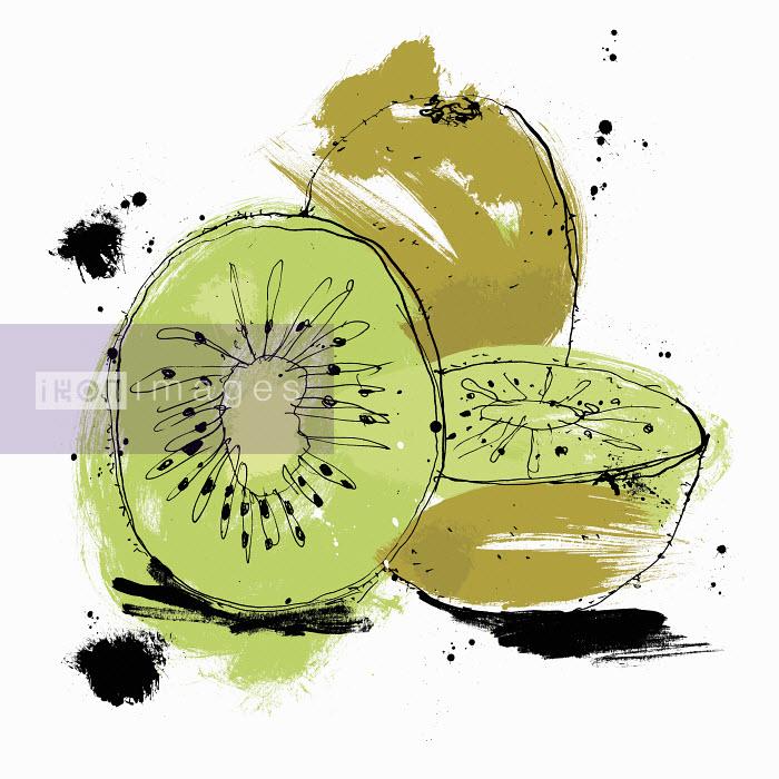 Whole and cut kiwi fruit - Whole and cut kiwi fruit - Ben Tallon