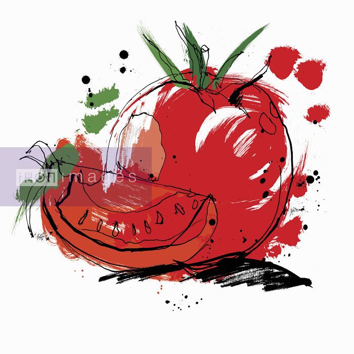 Whole and sliced tomato - Whole and sliced tomato - Ben Tallon