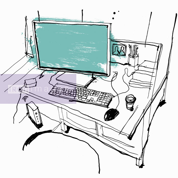 Drawing of desk workspace with computer and take away coffee - Drawing of desk workspace with computer and take away coffee - Ben Tallon