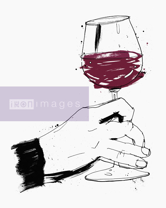 Hand swirling glass of red wine - Hand swirling glass of red wine - Ben Tallon