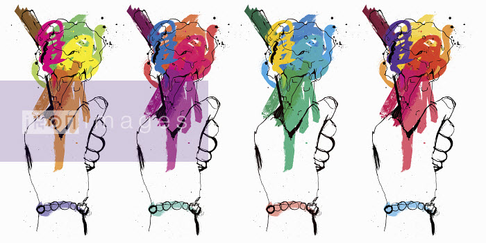 Row of hands holding multicolored ice creams - Row of hands holding multicolored ice creams - Ben Tallon